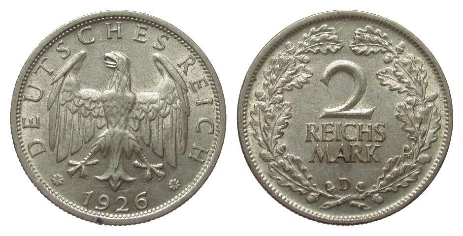 2 Mark 1926 D Weimarer Republik fast vorzüglich
