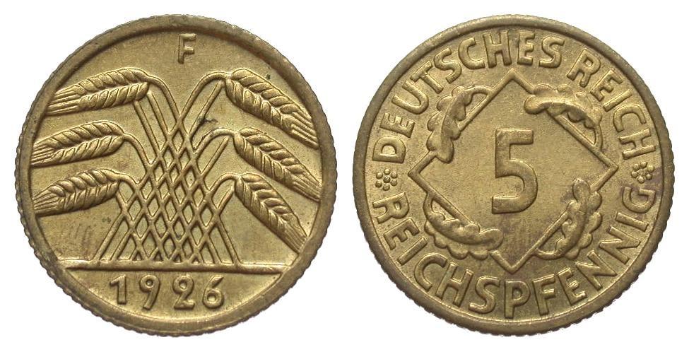 5 Pfennig 1926 F Weimarer Republik vorzüglich / Stempelglanz