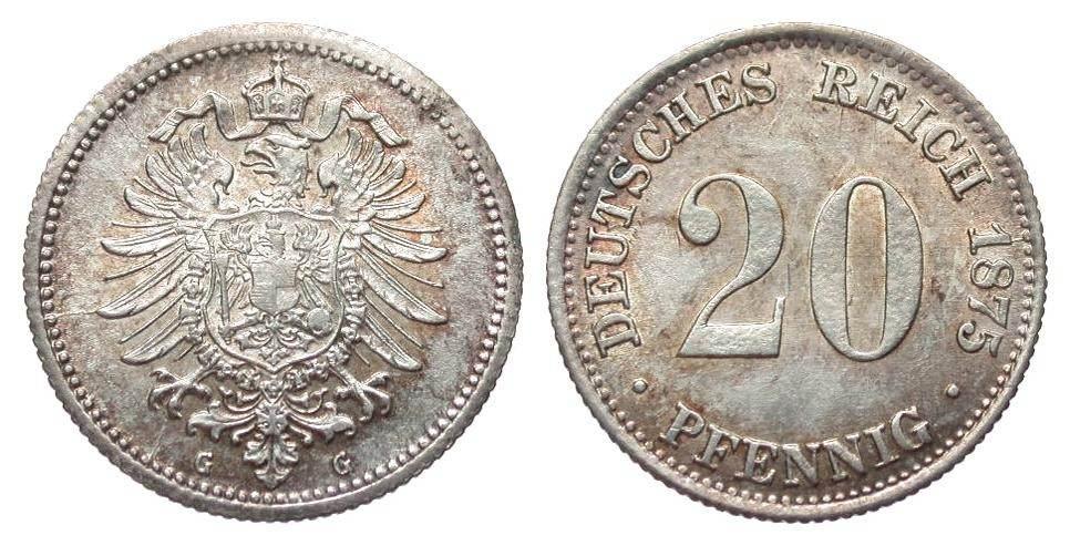 20 Pfennig 1875 G Kaiserreich gutes vorzüglich