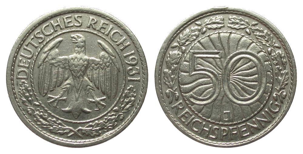 50 Pfennig 1931 J Weimarer Republik besser als sehr schön