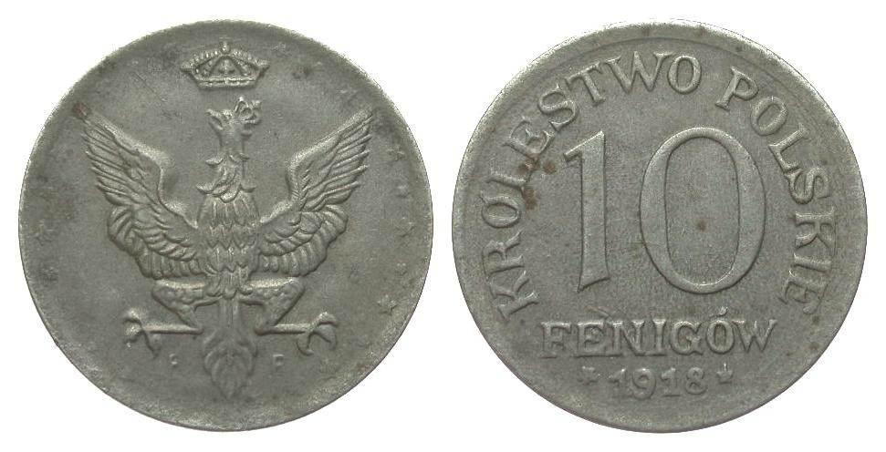 10 Fenigów 1918 F Kolonien und Nebengebiete fast vorzüglich