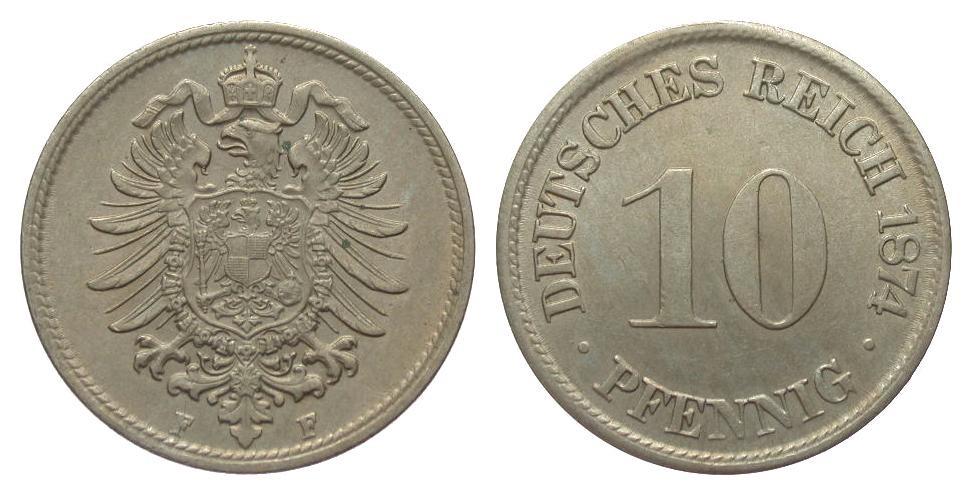 10 Pfennig 1874 F Kaiserreich vorzüglich / Stempelglanz