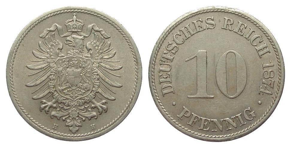 10 Pfennig 1874 H Kaiserreich gutes vorzüglich