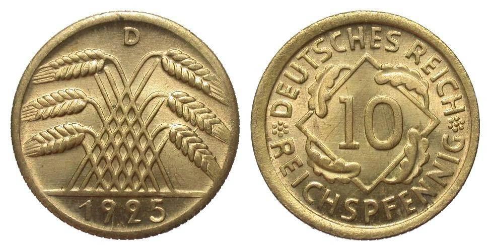 10 Pfennig 1925 D Weimarer Republik fast Stempelglanz