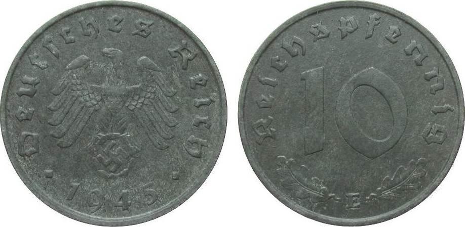 10 Pfennig 1945 E Drittes Reich vorzüglich