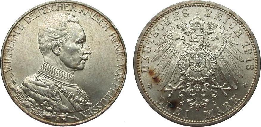 3 Mark Preussen Regierungsjubiläum 1913 A Kaiserreich kl. Flecken, fast Stempelglanz