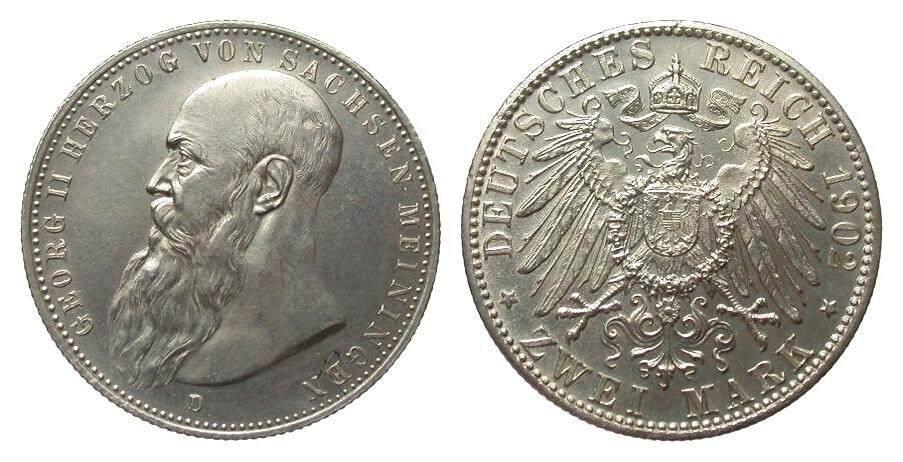 2 Mark Sachsen-Meiningen 1902 D Kaiserreich Bildseite vz/St, Adlerseite f.St