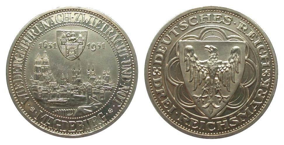 3 Mark Magdeburg 1931 A Weimarer Republik min. Haarlinien, polierte Platte