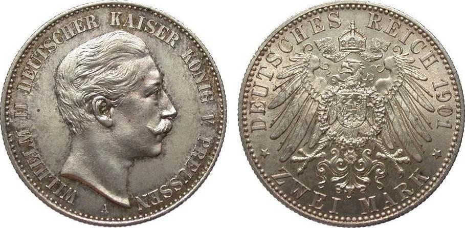 2 Mark Preussen 1901 A Kaiserreich fast Stempelglanz / Stempelglanz