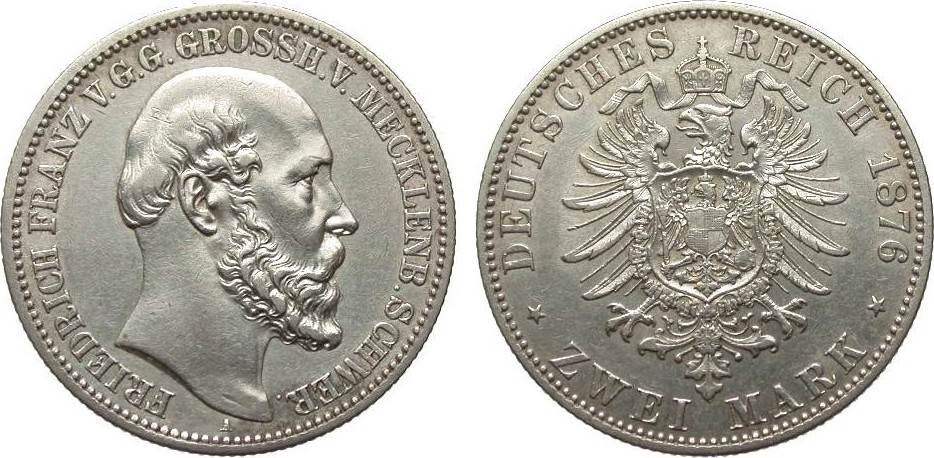 2 Mark Mecklenburg-Schwerin 1876 A Kaiserreich vorzüglich
