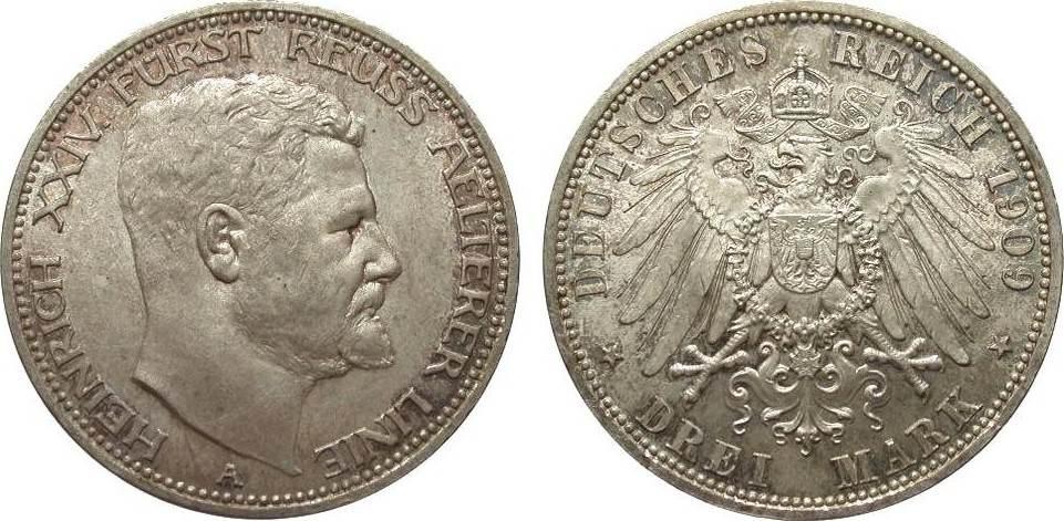 3 Mark Reuss älterer Linie 1909 A Kaiserreich wz. Kr., fast Stempelglanz