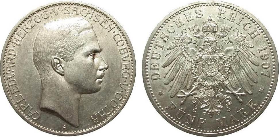 5 mark sachsen coburg und gotha 1907 a kaiserreich