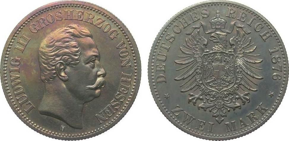 2 Mark Hessen 1876 H Kaiserreich wz. Kr., berieben, polierte Platte