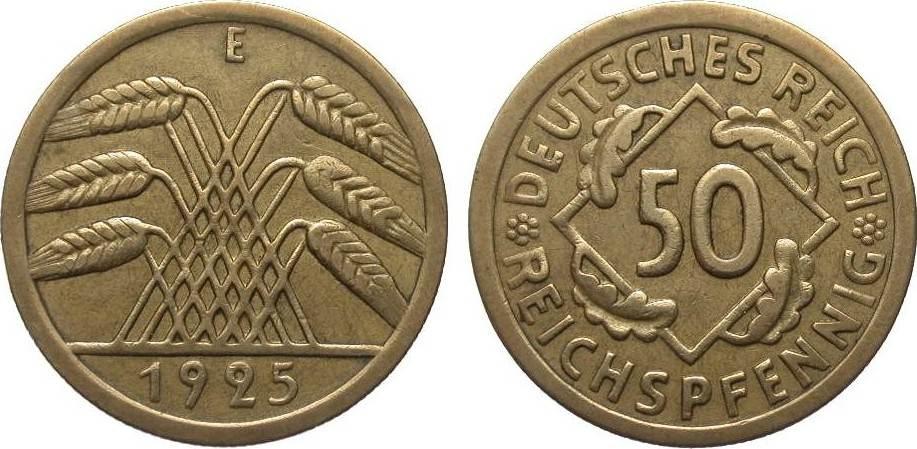 50 Reichspfennig 1925 E Weimarer Republik sehr schön