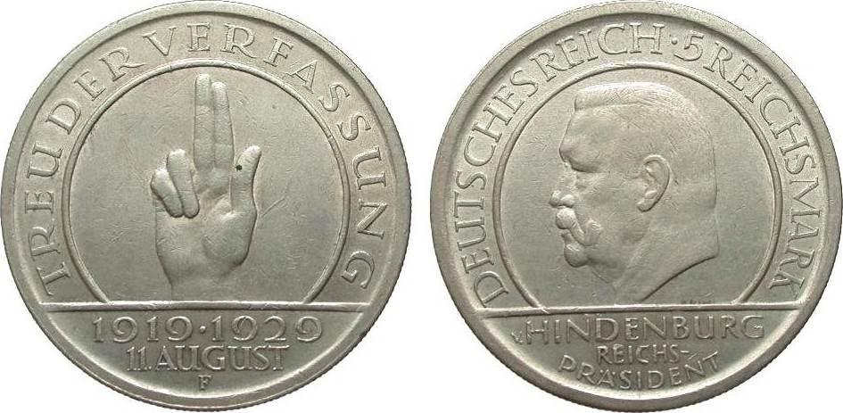 5 Mark Verfassung 1929 F Weimarer Republik min. Randfehler, knapp vorzüglich