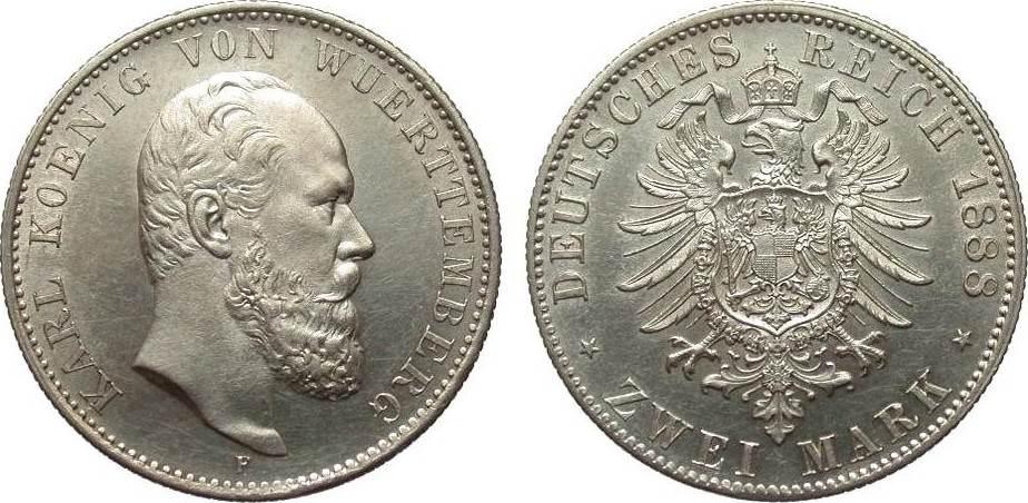 2 Mark Württemberg 1888 F Kaiserreich l. berieben, vorzüglich / Stempelglanz