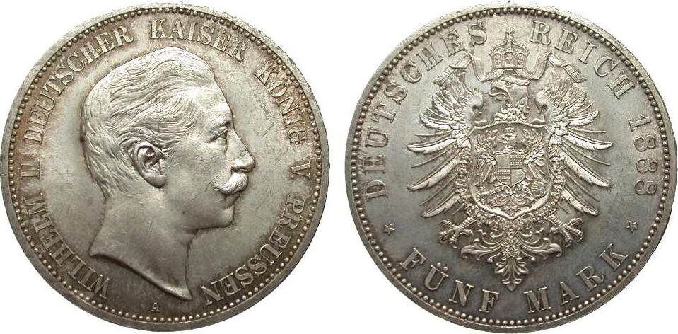 5 Mark Preussen Wilhelm II 1888 A Kaiserreich min. Rf., vorzüglich / Stempelglanz