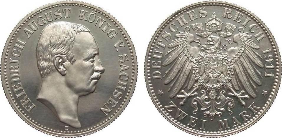 2 Mark Sachsen 1911 E Kaiserreich min. Haarlinien, polierte Platte