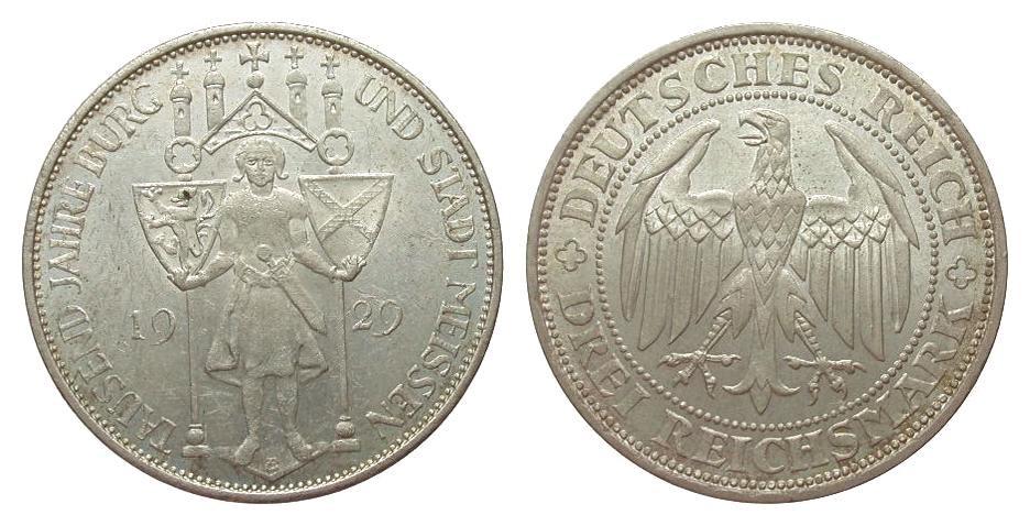 3 Mark Meissen 1929 E Weimarer Republik Bildseite vz, Adlerseite f.St