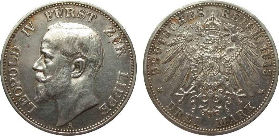 3 Mark Lippe 1913 A Kaiserreich fast vorzüglich