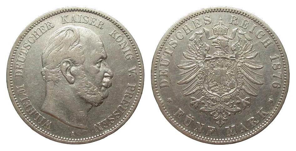 5 Mark Preussen 1876 A Kaiserreich Randfehler, sehr schön