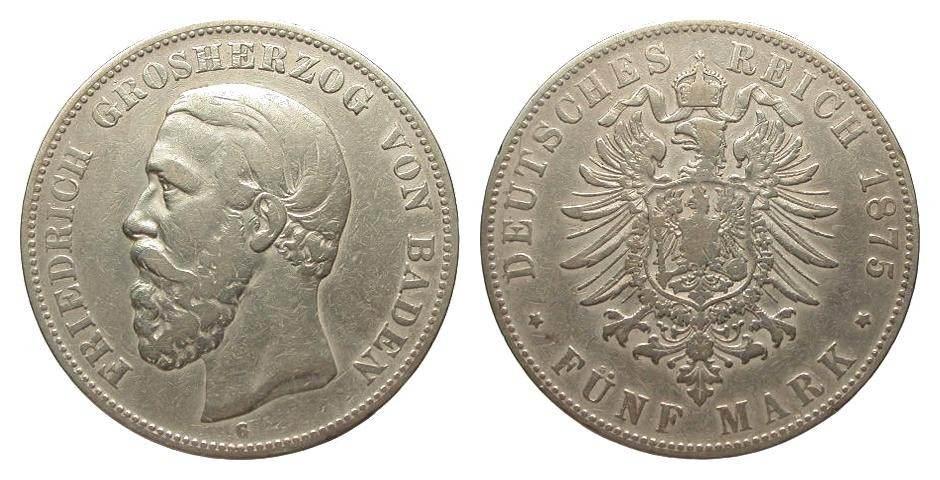 5 Mark Baden 1875 G Kaiserreich schön / sehr schön