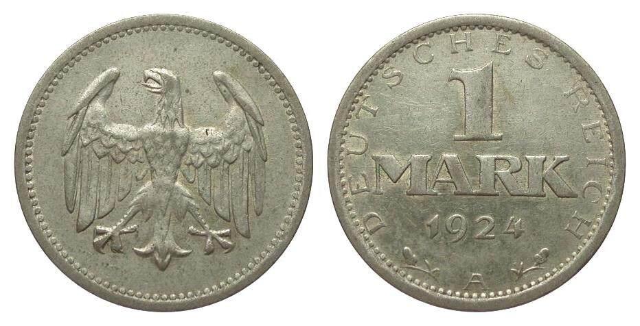 1 Mark 1924 A Weimarer Republik sehr schön