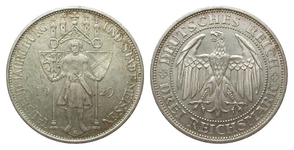 3 Mark Meissen 1929 E Weimarer Republik gutes vorzüglich
