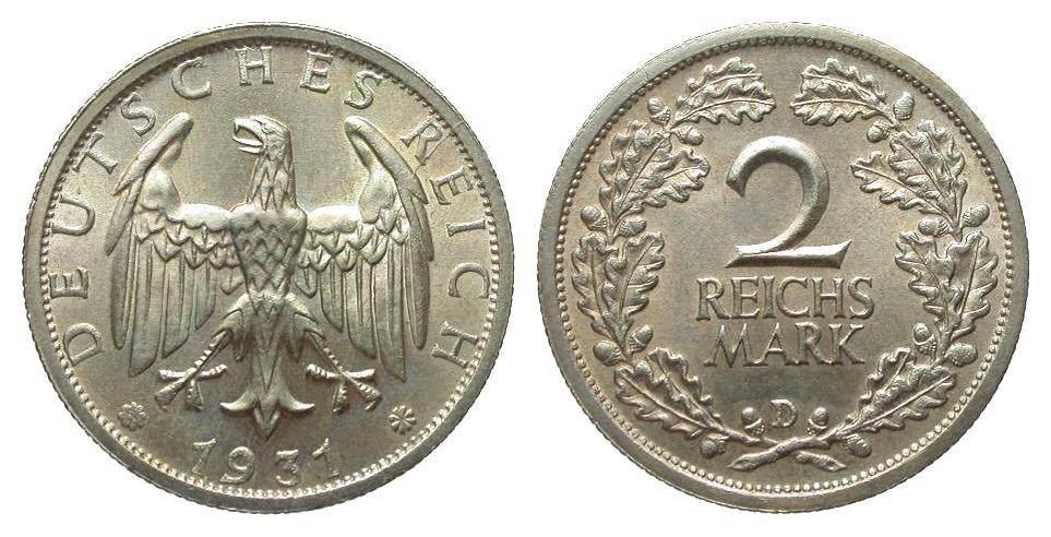 2 Mark 1931 D Weimarer Republik fast Stempelglanz