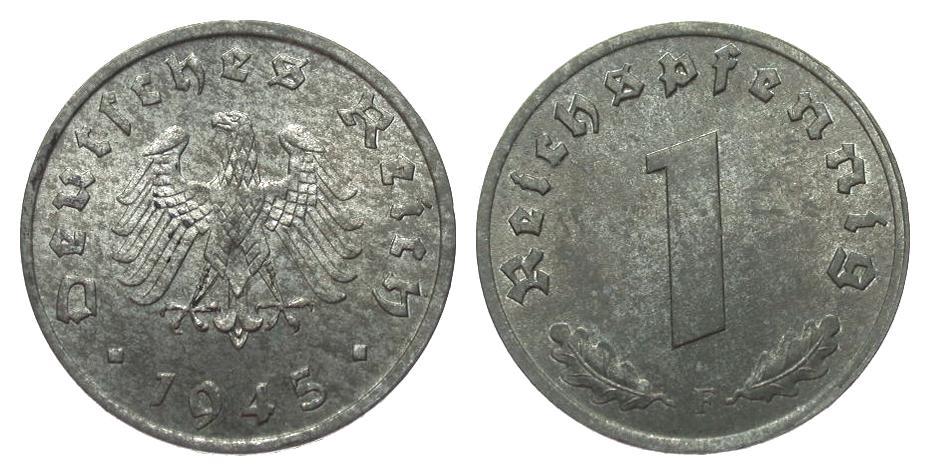 1 Pfennig 1945 F alliierte Besetzung wz. Flecken, fast Stempelglanz