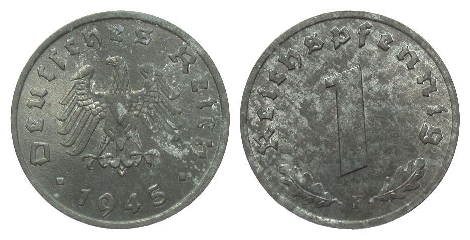 1 Pfennig 1945 F alliierte Besetzung l. korrodiert, fast Stempelglanz