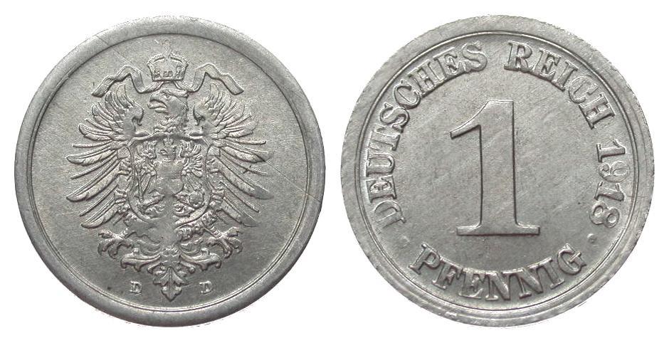1 Pfennig 1918 D Ersatzmünzen 1. Weltkrieg kl. Kr. u. Prägeschwäche, vz
