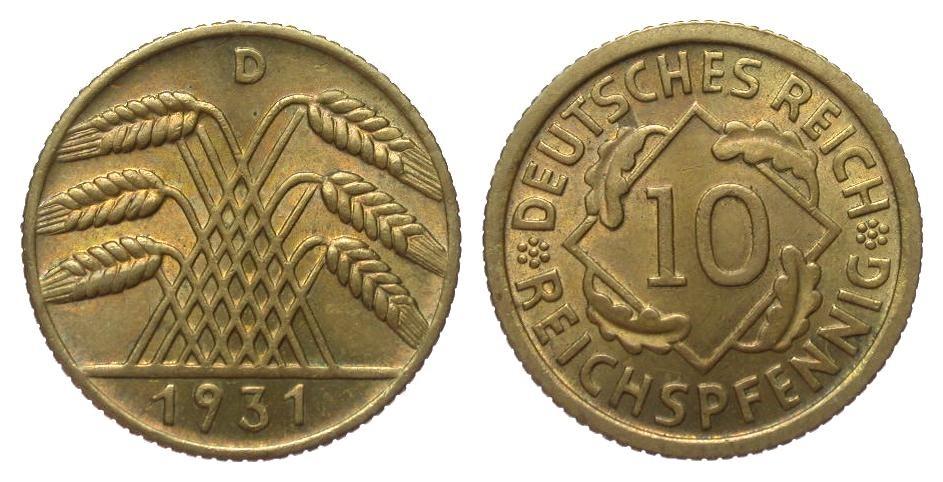10 Pfennig 1931 D Weimarer Republik vorzüglich / Stempelglanz