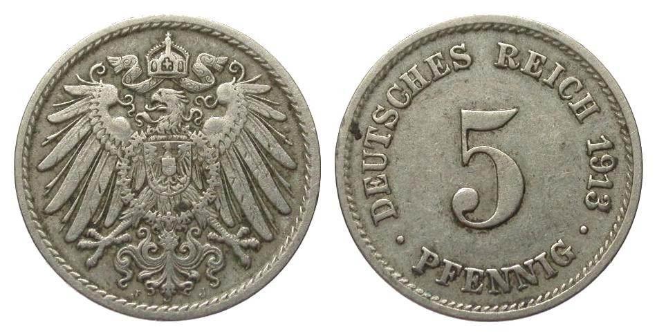 5 Pfennig 1913 J Kaiserreich besser als sehr schön
