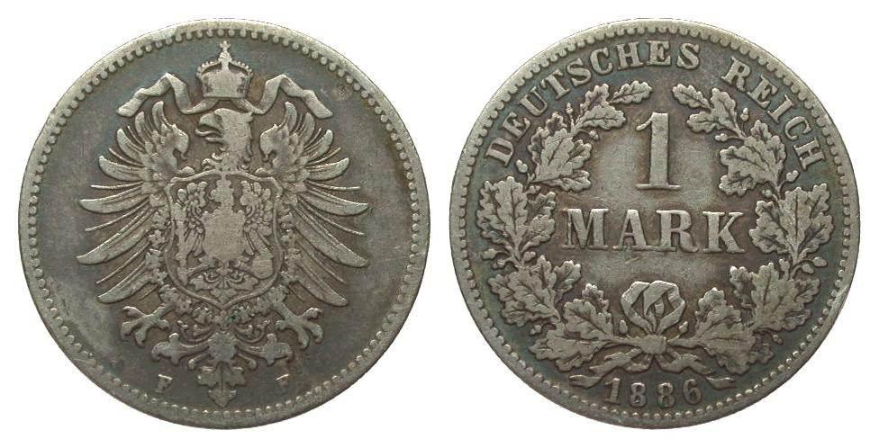 1 Mark 1886 F Kaiserreich schön / sehr schön