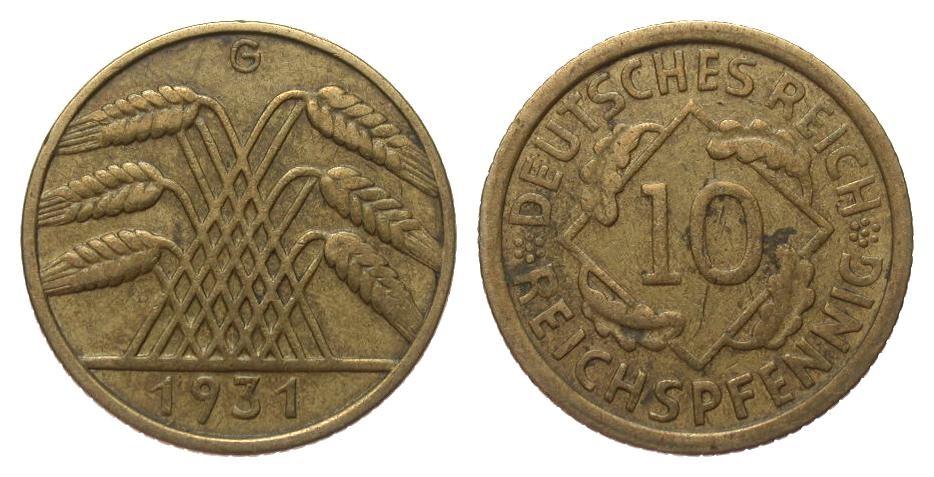 10 Pfennig 1931 G Weimarer Republik sehr schön