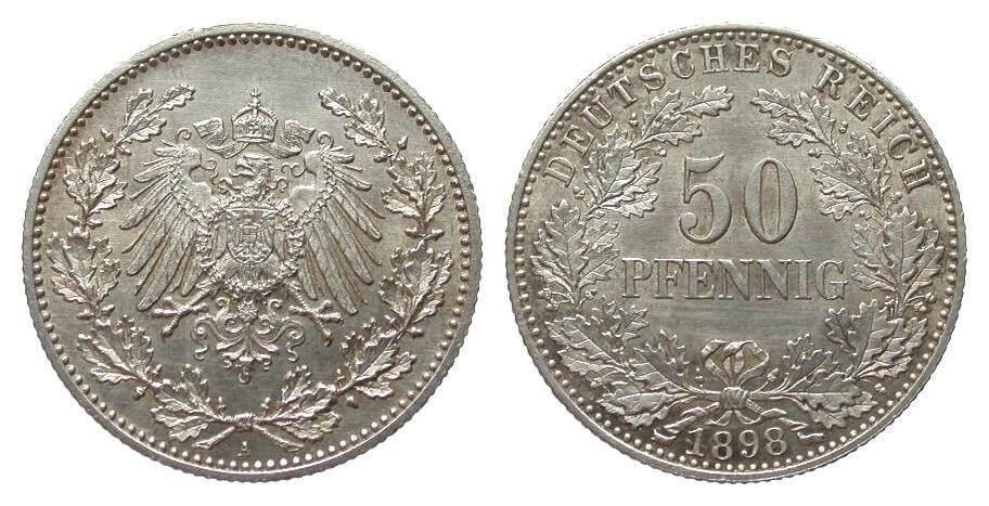 50 Pfennig 1898 A Kaiserreich wz. Kratzer, vorzüglich / Stempelglanz