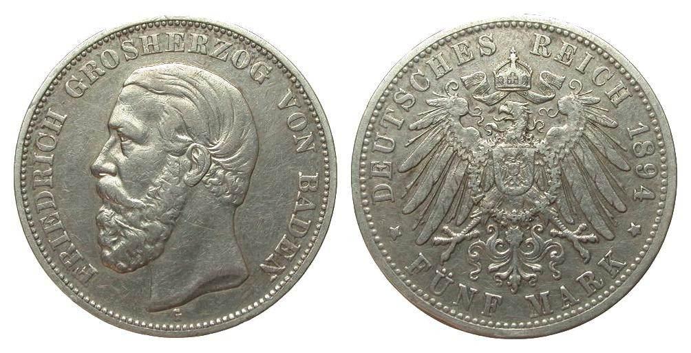 5 Mark Baden 1894 G Kaiserreich sehr schön
