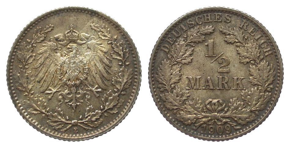 1/2 Mark 1909 E Kaiserreich vorzüglich / Stempelglanz