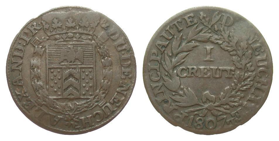 Schweiz Neuchatel 1 Kreuzer 1807 Europa (ohne €) knapp sehr schön