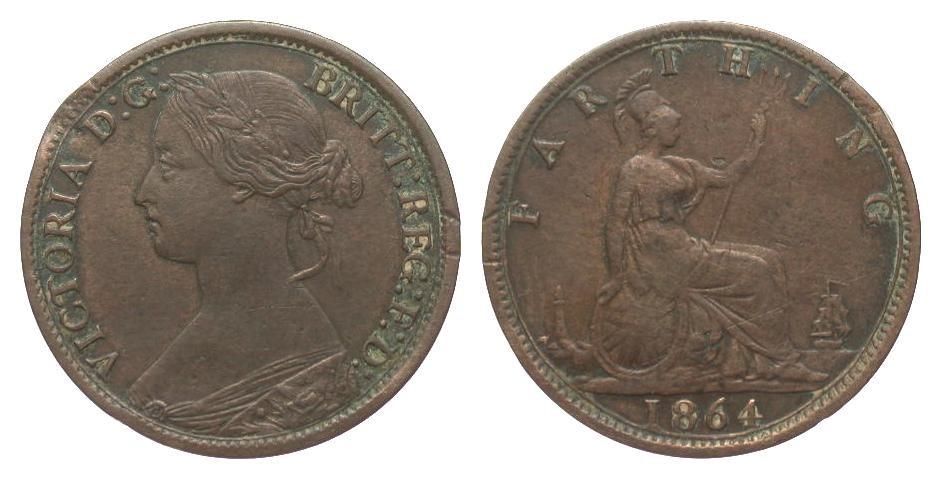 Großbritannien Farthing 1864 Europa (ohne €) Druckstelle am Rand, sehr schön