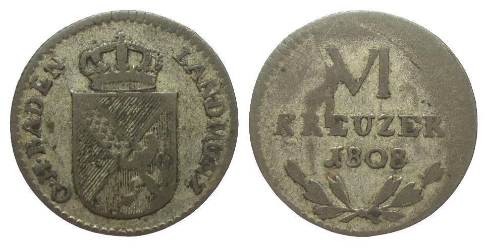 Baden 6 Kreuzer 1808 Altdeutschland bis 1871 fast sehr schön