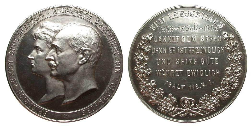 Oldenburg Silbermedaille zum Ehejubiläum Medaillen vorzüglich / Stempelglanz
