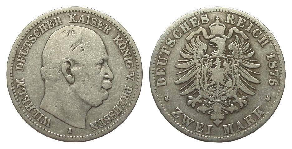 2 Mark Preussen 1876 A Kaiserreich schön