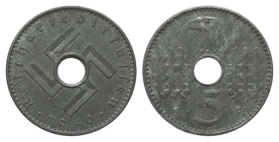 5 Pfennig Reichskreditkassen 1940 A Kolonien und Nebengebiete min. korrodiert, besser als vorzüglich