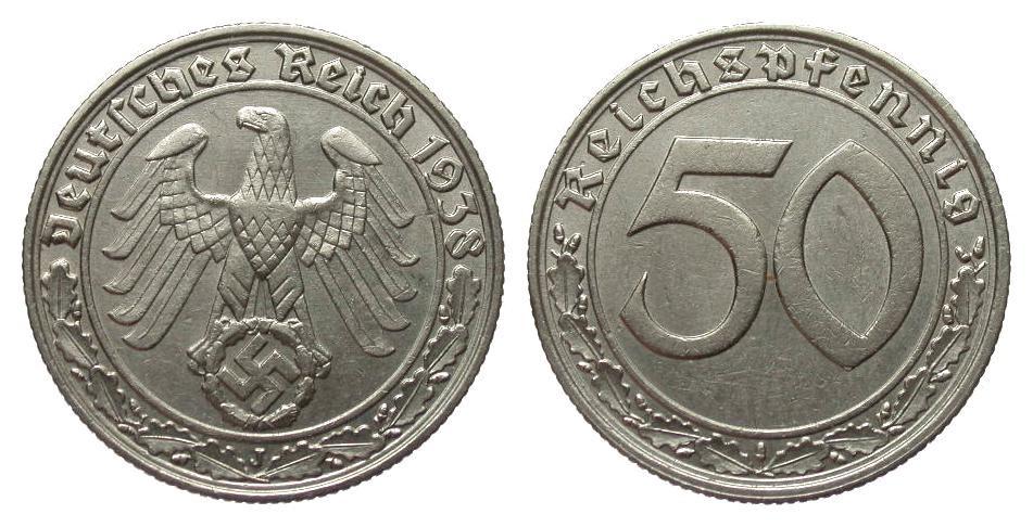 50 Pfennig 1938 J Drittes Reich knapp vorzüglich
