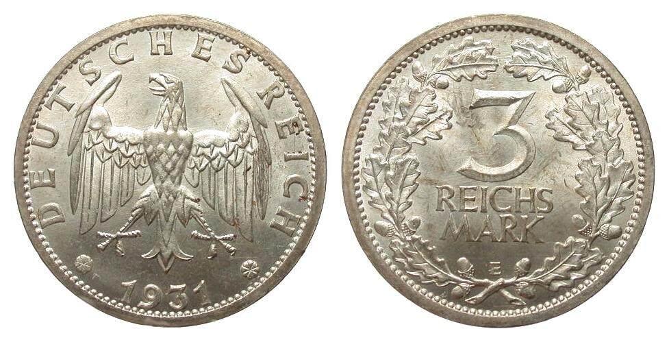3 Mark Kursmünze 1931 E Weimarer Republik min. Rf., Adlerseite Kratzspuren, sonst vz+