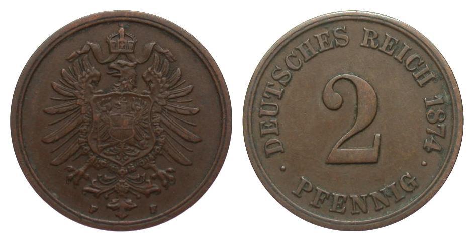 2 Pfennig 1874 F Kaiserreich besser als sehr schön