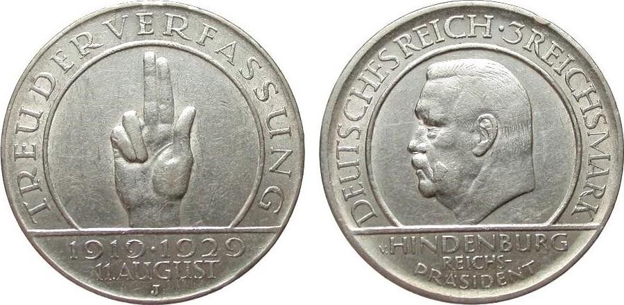 3 Mark Verfassung 1929 J Weimarer Republik kl. Randfehler, fast vorzüglich