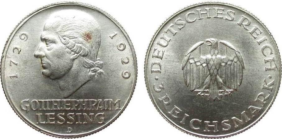 3 Mark Lessing 1929 D Weimarer Republik vorzüglich / Stempelglanz
